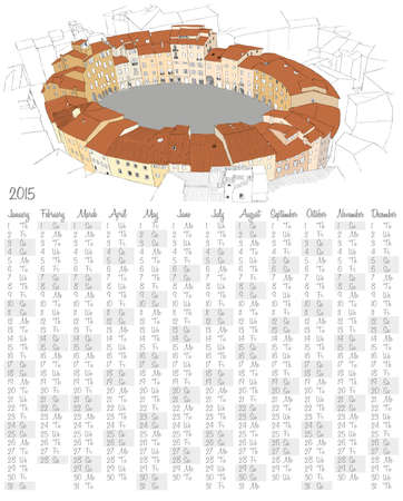 2015 calendar with Oval City Square in Lucca, Italy