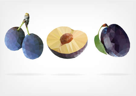 Low Poly Blue Plum Vector