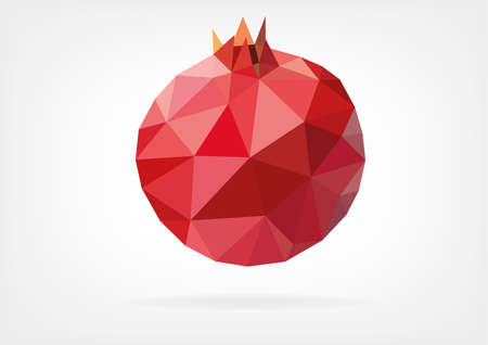 pomegranate juice: Low Poly Pomegranate Illustration