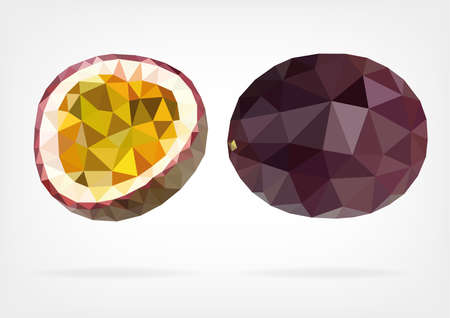 Low Poly Passion Fruit or Maracuja Illustration