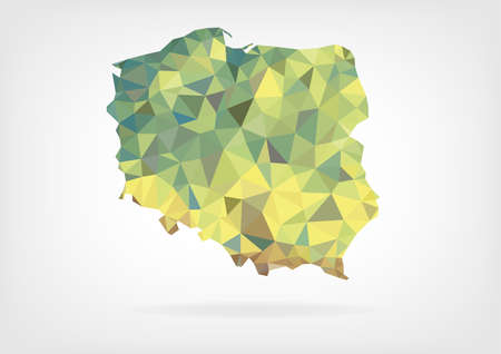 low poly: Low Poly Map of Poland Illustration