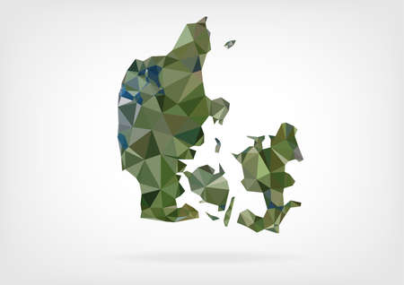 low poly: Low Poly Map of Denmark Illustration