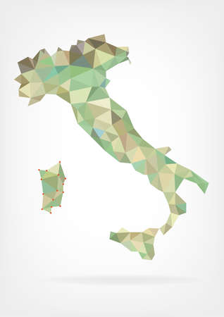 Low Poly Map of Italy Vector