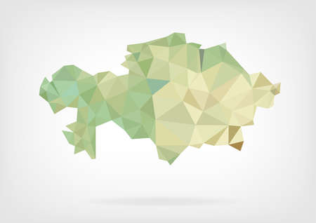 low poly: Low Poly Map of Kazakhstan Illustration