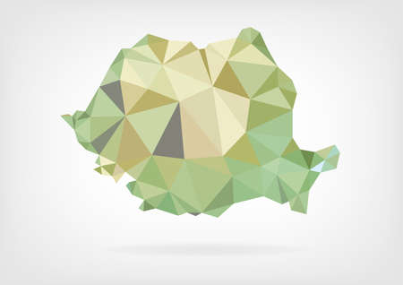 rumanian: Low Poly map of Romania Illustration