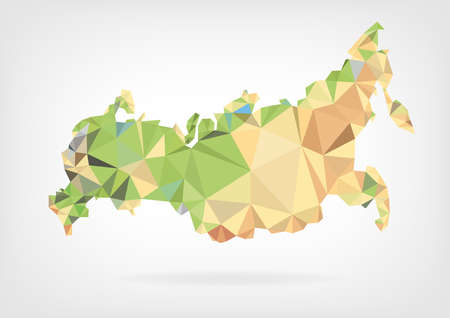 russia map: Low Poly map of Russian Federation