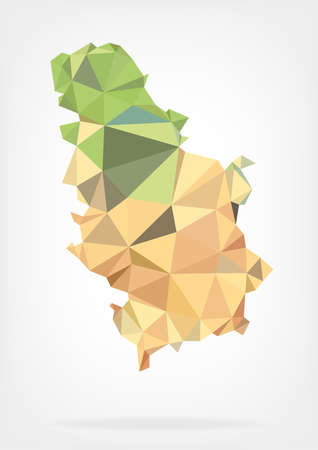 serbia: Low Poly map of Serbia Illustration