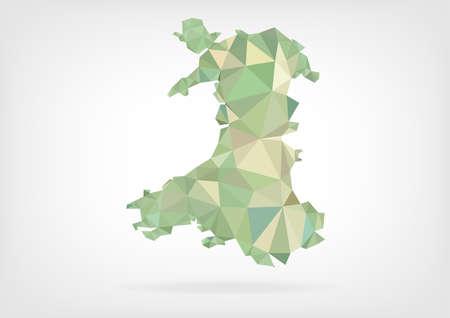 Carte de Galles Low Poly