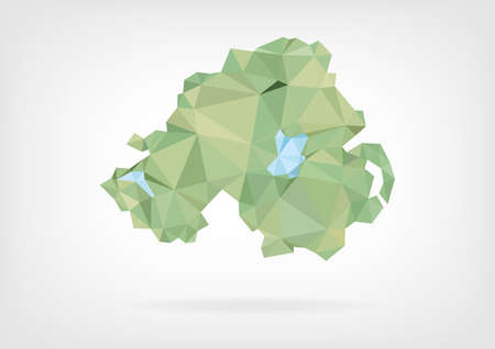 northern ireland: Low Poly map of Northern Ireland
