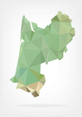 Low Poly map of french region Aquitaine