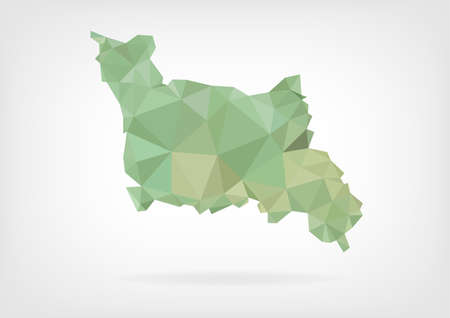 basse normandy: Low Poly map of french region Basse-Normandie