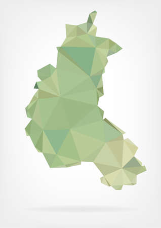 reims: Low Poly map of french region Champagne-Ardenne Illustration