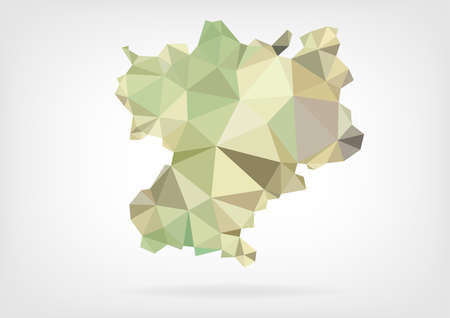 rhone: Low Poly map of french region Rhone-Alpes