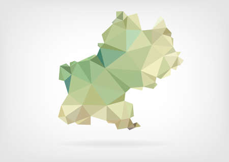 toulouse: Low Poly map of french region Midi Pyrenees