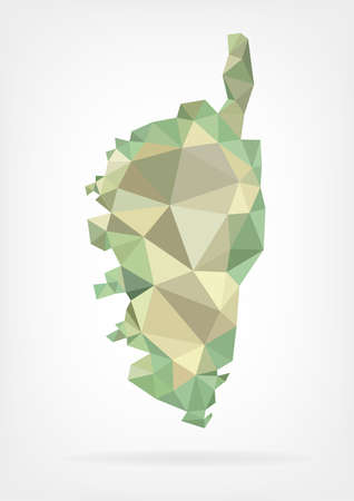 corsica: Low Poly map of french region Corse Illustration
