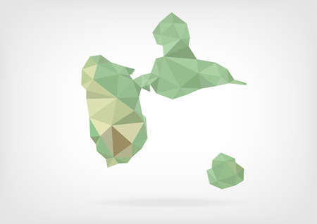 guadeloupe: Low Poly map of french region Guadeloupe