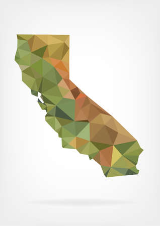 outline maps: Low Poly map of California state