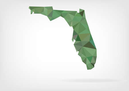 miami florida: Low Poly map of Florida state Illustration
