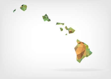 Low Poly map of Hawaii state