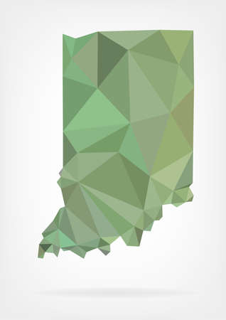 Low Poly map of Indiana state Ilustrace