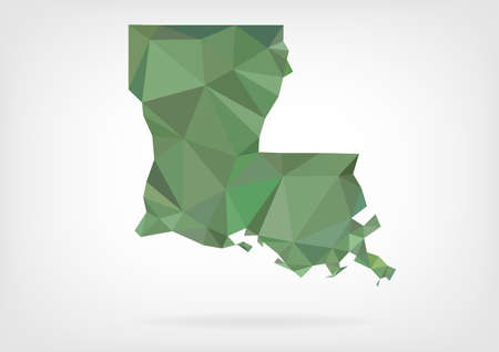louisiana state: Low Poly map of Louisiana state Illustration