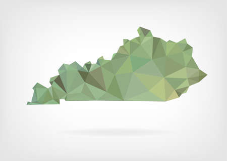 Low Poly map of Kentucky state Ilustrace