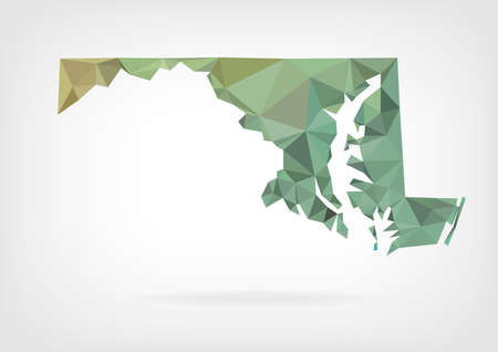 topographic: Low Poly map of Maryland state Illustration