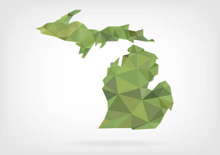 Low Poly map of  Michigan state Vector