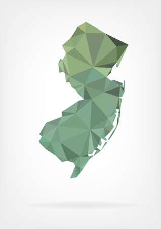jersey: Low Poly map of New Jersey state Illustration