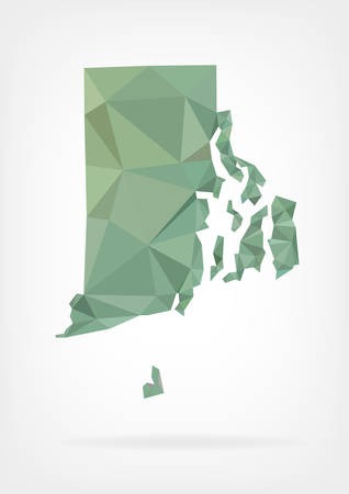 island state: Low Poly map of Rhode Island state Illustration