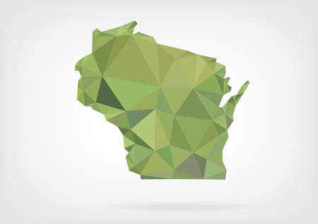 Low Poly map of Wisconsin state Ilustrace