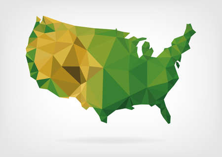 usa: Low Poly map of USA Illustration