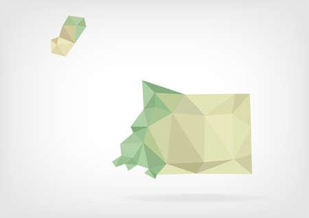 equatorial: Low Poly map of Equatorial Guinea Illustration
