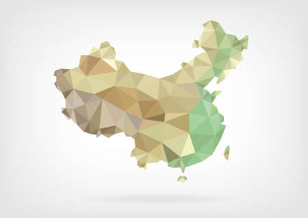 china business: Low Poly map of China
