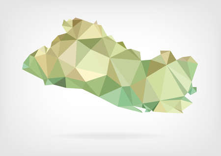 el salvador: Low Poly map of El Salvador Illustration