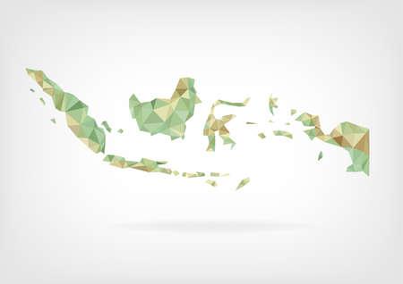 インドネシアの低ポリ地図  イラスト・ベクター素材