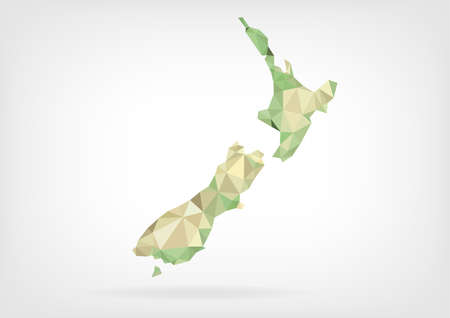 zealand: Low Poly map of New Zealand