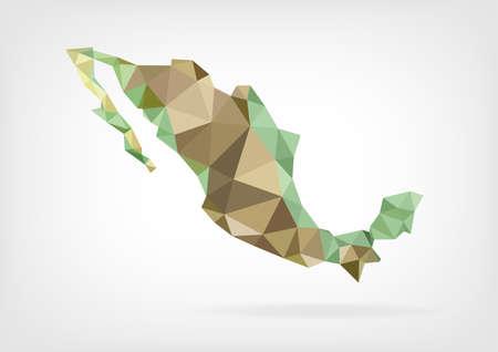 멕시코의 저 폴리지도 일러스트