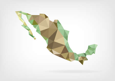 mexico city: Low Poly map of Mexico
