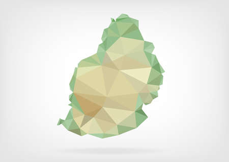 mauritius: Low Poly map of Mauritius