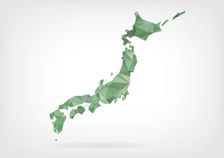 Low Poly map of Japan Illustration