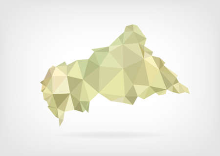 central african republic: Low Poly map of Central African Republic