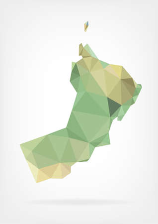 oman background: Low Poly map of Oman Illustration