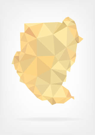 sudan: Low Poly map of Sudan