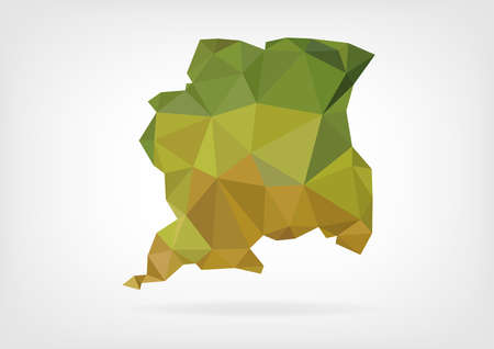 suriname: Low Poly map of Suriname