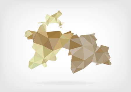 tajikistan: Low Poly map of Tajikistan Illustration
