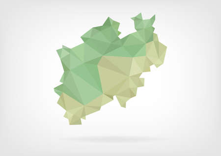 westfalen: Low Poly map of german region Nordrein Westfalen