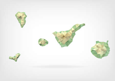 canary islands: Low Poly map of Canary Islands Illustration