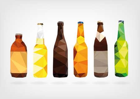 Low Poly Beer Bottles Vector