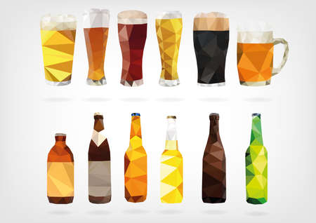 low glass: Low Poly Beer Bottles